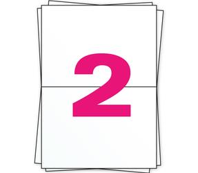 Afbeelding van A4 labels, 2 per sheet, white, permanent, 210mm x 148mm