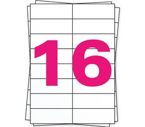 Afbeelding van A4 Sheet Labels, 105mm x 37mm, 16 Per Sheet, White, Permanent
