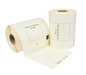 Brother DK-11241 compatible labels, 102mm x 152mm, 200 labels, white, permanent