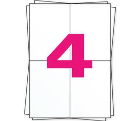 Afbeelding van A4 Self Adhesive Labels | 104mm x 148mm | 4 Labels Per Sheet | Matt