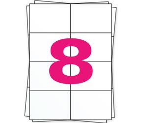 Afbeelding van A4 Self Adhesive Labels | 105mm x 74mm | 8 Labels Per Sheet | Matt