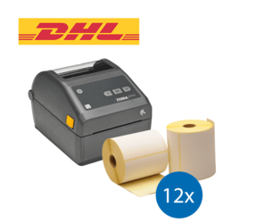 DHL Starter Package | Zebra ZD420D Ethernet Printer + 12 Label Rolls in 102mm x 210mm, 210 Labels, 25mm Core
