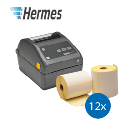 Hermes Starter Package | Zebra ZD420D Ethernet printer + 12 Zebra compatible label rolls, 102mm x 210mm