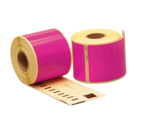 Dymo 99014 compatible labels, 101mm x 54mm, 220 labels, pink, permanent