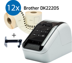 Brother QL810W Label Printer + 12 Rolls Brother DK-22205 Compatible Labels