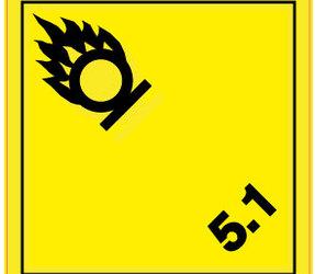 Afbeelding van ADR 5.1 oxidizer label, 100mm x 100mm, 1.000 labels, core 76mm
