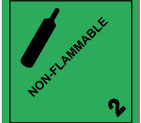 IATA 2.2 non flammable gas label, 100mm x 100mm, 1.000 labels, core 76mm