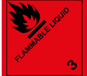 IATA 3 flammable liquid label, 100mm x 100mm, 1.000 labels, core 76mm