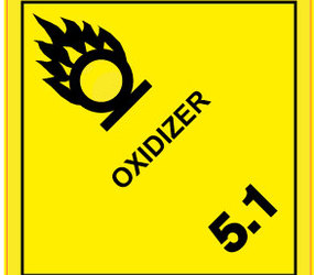 IATA 5.1 oxidizer label, 100mm x 100mm, 1.000 labels, core 76mm