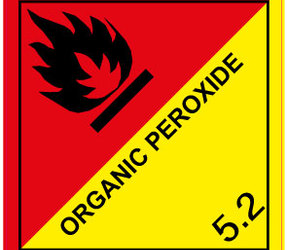 IATA 5.2 organic peroxide label, 100mm x 100mm, 1.000 labels, core 76mm