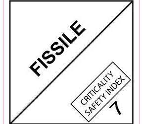 IATA 7.4 fissile label, 100mm x 100mm, 1.000 labels, core 76mm