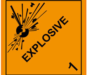 IMO 1.0 Explosive Labels, 100mm x 100mm, 1000 Labels, 76mm Core