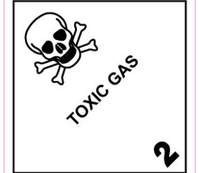IMO 2.3 Toxic Gas Labels, 100mm x 100mm, 1000 Labels, 76mm Core