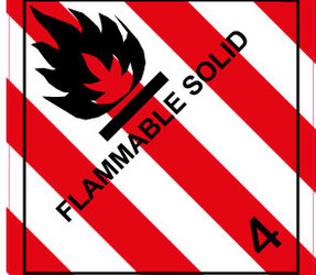 IMO 4.1 Flammable Solid Labels, 100mm x 100mm, 1000 Labels, 76mm Core