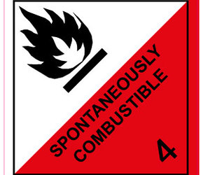 IMO 4.2 Spontaneously Combustible Labels, 100mm x 100mm, 1000 Labels, 76mm Core