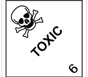 IMO 6.1 Toxic Labels, 100mm x 100mm 1000 Labels, 76mm Core