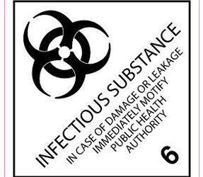 IMO 6.2 Infectious Substance Label, 100mm x 100mm, 1000 Labels, 76mm Core