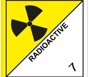 IMO 7 radioactive label, 100mm x 100mm, 1.000 labels, core 76mm