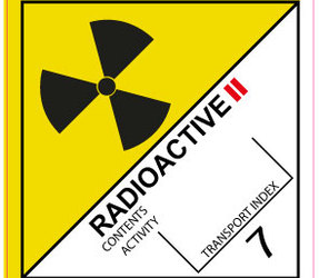 IMO 7.2 radioactive II label, 100mm x 100mm, 1.000 labels, core 76mm