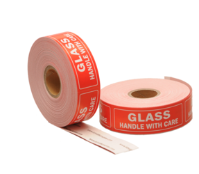 Glass / Handle With Care Labels, 76.2mm x 25.4mm, 500 Labels, Permanent