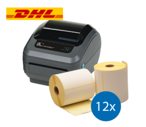 DHL Starter Package | Zebra GK420D Printer + 12 Label Rolls in 102mm x 210mm, 210 Labels, 25mm Core