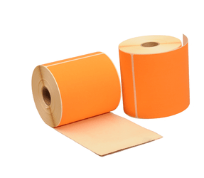 Thermal Shipping Labels, 102mm x 150mm, 280 labels, 25mm core, orange, permanent