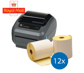 Royal Mail Starter Package | Zebra GK420D Ethernet printer + 12 rolls Zebra compatible labels 102mm x 150mm (4